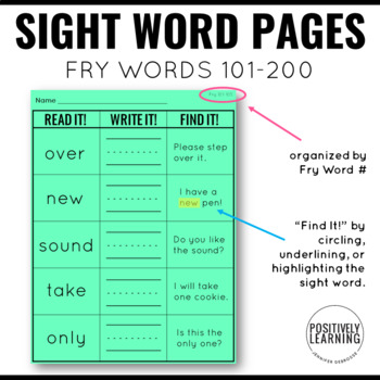 Read It Write It Find It Fry Sight Words 101-200
