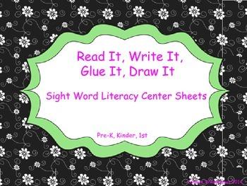 Beginning Sight Words- Read It, Write It, Glue It, Draw It