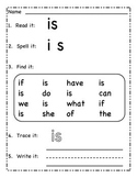 Read It Write It: Kindergarten Sight Words