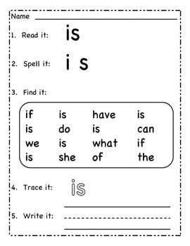 Read It Write It: Kindergarten Sight Words