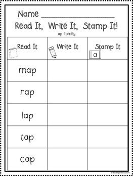 Read It, Write It, Stamp It - 70 Word Families