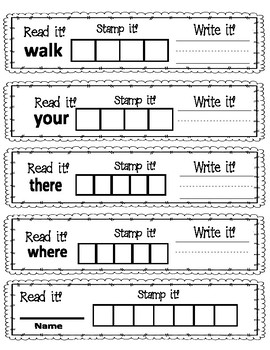Read It, Write It, Stamp It Sight Words 7