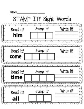 Read It, Write It, Stamp It Sight Words 8