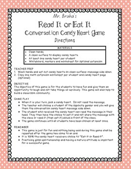 Read-It or Eat-It Candy Heart Game
