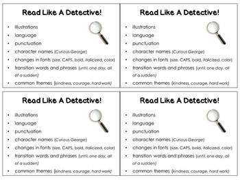 Read Like A Detective! Rereading ~ CCSS RL Key Ideas & Details Scaffold