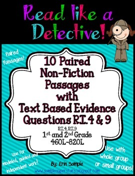 Read Like a Detective!{10 Paired Passages w/ Text-Based Evidence Questions}RI.9