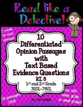 Read Like a Detective!{20 Opinion Passages w/Text-Based Evidence Questions} RI.8