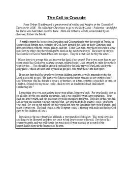 Read Like a Historian - Pope Urban's Speech