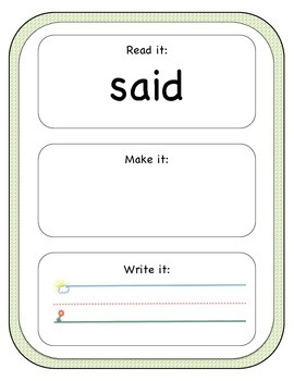 Read, Make, and Write Sight Words
