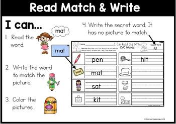 Read Match & Write ~ 12 CVC Words Centers