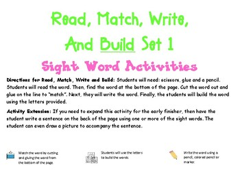 Read, Match, Write and Build-- Sight Word Freebie Set 1