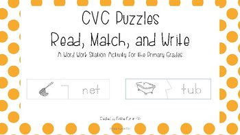CVC puzzles with handwriting practice - Read, Match, and Write