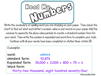 Read My Number Charts 4.NBT.2