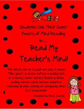Read My Teacher's Mind! Word Study & Spelling Activity ELA