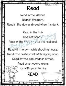 Read - Printable Poem Reading Chant