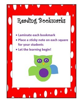 Read, React , Write (Bookmarks for Close Reading) Using Sticky Notes.