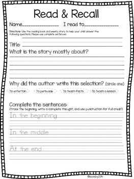 Read & Recall Reading Comprehension Page