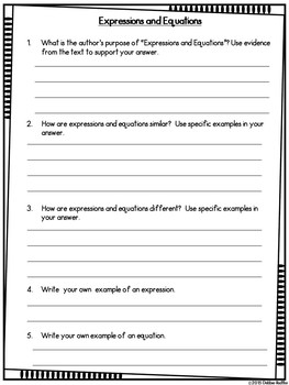 Read & Respond About Math ~Vol.1~ Expressions, Order of Operations, & Patterns