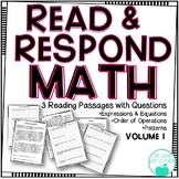 Read & Respond About Math -Expressions, Order of Operations, & Patterns - Vol. 1