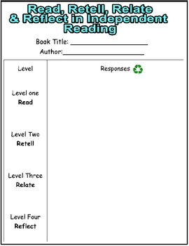 Read Retell Relate Reflect Response Form