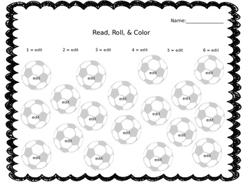 Editable color by number or sight word