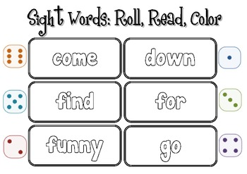 Roll, Read, and Color with Sight Words