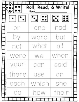 Read,Roll, & Write - High Frequency Word Practice