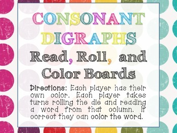 Read, Roll, and Color Consonant Digraph Boards