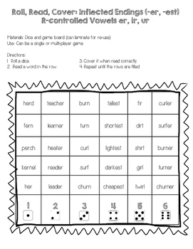 Read Roll and Cover! Inflectional Endings and R-controlled Vowels