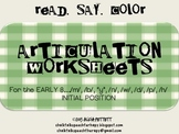 Read Say and Color Articulation Worksheets for Early 8 Emerging Sounds