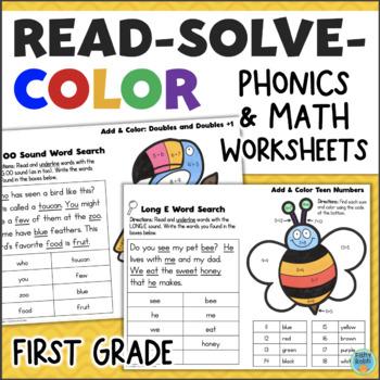 Read, Solve, Color - Math & Phonics No-Prep Printables for 1st Grade