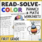 1st Grade Math & Phonics Worksheets - Read, Solve, Color