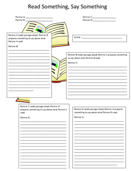 Read Something Say Something Article Worksheet
