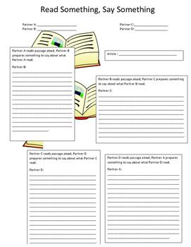 Read Something Say Something Article Worksheet