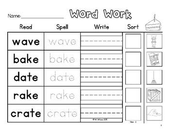 Read Spell Write Sort Bossy Silent E CVCE Words Word Sort