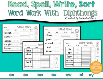 Read Spell Write Word Sort Diphthong Word Sorts AW AU OI OY OO OU OW