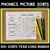 Word Sort Phonics BUNDLE Short Vowels through Diphthongs