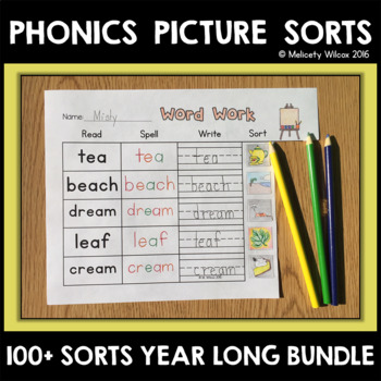 Distance Learning Word Sorts First Grade Year Long BUNDLE