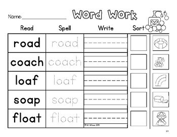 Vowel Team Word Sorts with Long Vowels