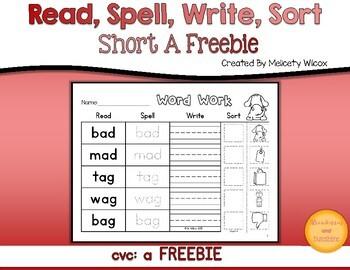 Read,Spell, Write, Sort Word Sort Short A FREEBIE