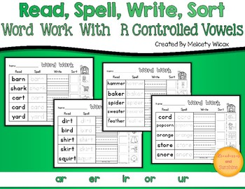 Read Spell Write Sort Word Sorts for R Controlled Vowels