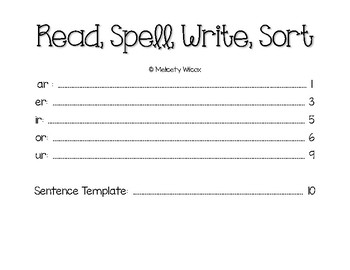 Word Sorts for R Controlled Vowels