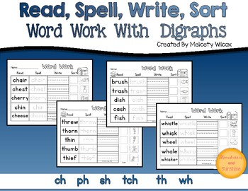 Read Spell Write Word Sort with Digraphs  ch sh th ph wh Word Sorts