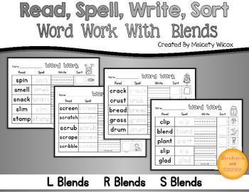 Read, Spell, Write, Sort Word Sort L Blends, S Blends, and R Blends