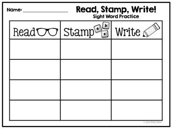 Read Stamp Write - Kindergarten Sight Word Activity