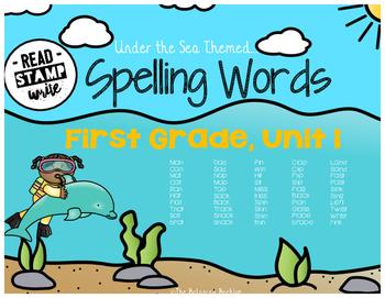 Read, Stamp, Write 1st Grade Spelling Words, Unit 1