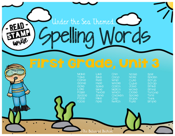 Read, Stamp, Write 1st Grade Spelling Words, Unit 3