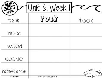 Read, Stamp, Write 1st Grade Spelling Words, Unit 6