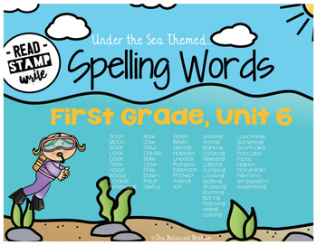 Read, Stamp, Write 1st Grade Spelling Words, Unit 6