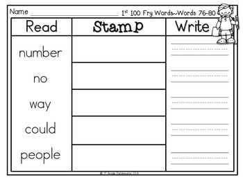 Fry Sight Words Read, Stamp, Write Literacy Centers for First 200 Fry Words